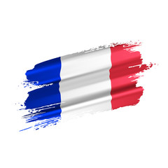 French flag created from voluminous brush strokes, isolated on white background. Vector illustration.