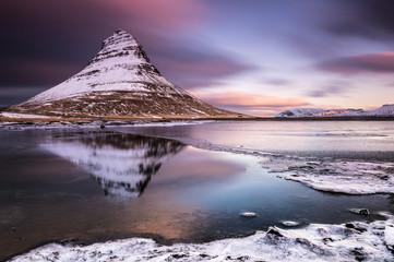 Peak of Kirkjufell with Kirkjufell river, Kirkjufell, Snaefellsnes peninsula, Iceland, Europe