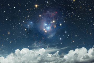 Scenic heavenly landscape. Starry sky on a background of white clouds. Serenity. Abstract Sky Concept