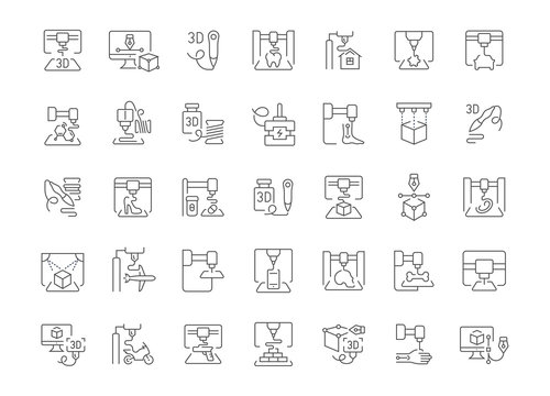 Set of Simple Icons of 3D Printing.