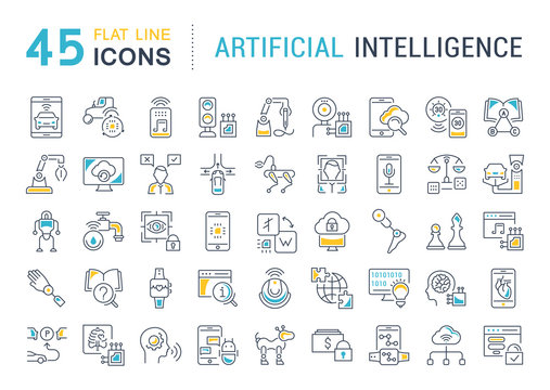 Set Vector Line Icons of Artificial Intelligence.