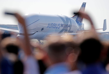 An Airbus Beluga XL transport plane prepares to take off during its first flight event in Colomiers near Toulouse