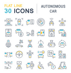 Set Vector Line Icons of Autonomous Car.