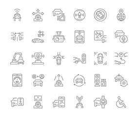 Set of Simple Icons of Autonomous Car.