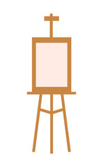 Wooden Easel with Blank Canvas Isolated on White