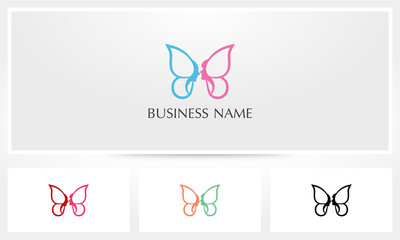 Butterfly Wings Couple Men Woman Face Logo