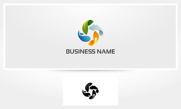 Earth Water Wind Fire Elements Logo