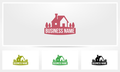 House Chimney Trees Badge Emblem Logo