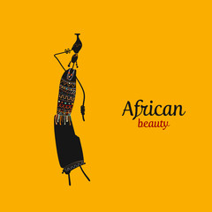 African woman with jug, ornate sketch for your design
