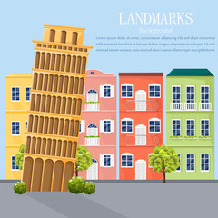 Italy cityscape architecture facades Vector. Colorful cartoon style background