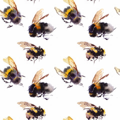 Watercolor bees seamless pattern isolated on white background. hand drawn watercolor illustration