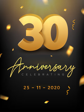 30 Years Anniversary Celebration event. Golden Vector birthday or wedding party congratulation anniversary 30th