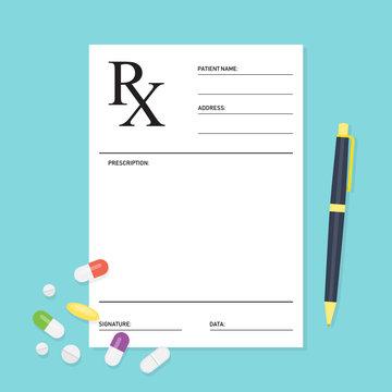 Empty medical prescription Rx form with pills