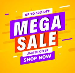 Mega Sale banner template design. Big sale special offer promotion discount for business
