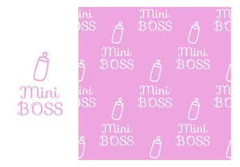 Vector Mini BOSS. Seamless repeating pattern isolated on pink background.