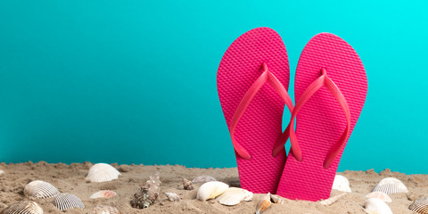 pink flip flops with blue background and shellfish