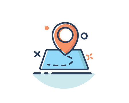 pin location on map icon line filled design illustration,designed for web and app