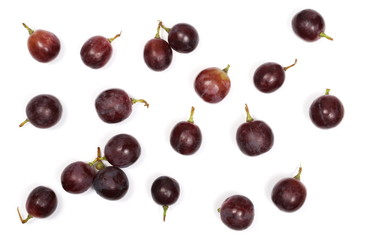 Cardinal grapes isolated on white background, top view