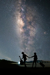 Couple traveler standing near the lake and looking milky way and stars on the sky at night.silhouette style.