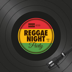Poster, flyer reggae night party, vinyl style. Editable vector design.