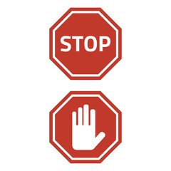 Stop sign on white background.