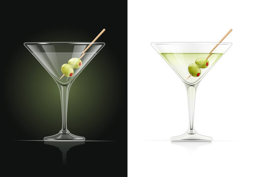 Martini glass. Cocktail. Alcoholic classic drink. Dry vermouth