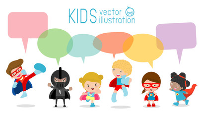 Cute superhero kids with speech bubbles, Set of  superhero child  with speech bubbles isolated on white background,Vector Illustration
