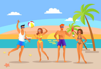 Summer People Communicating Vector Illustration