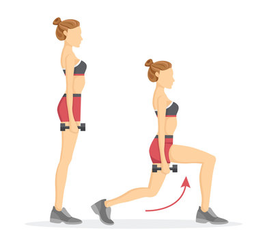 Lunges Tabata Exercises Set Vector Illustration