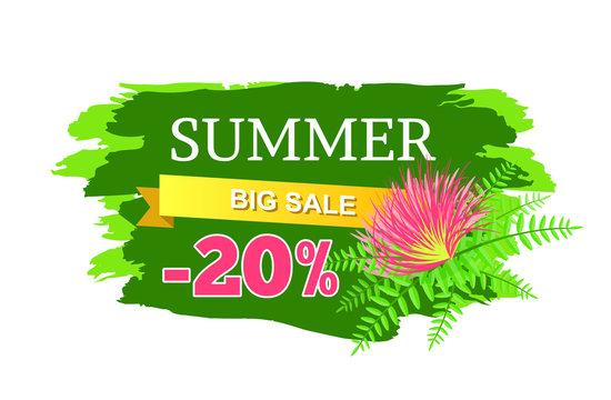 Summer Big Sale 20 Off Advertisement Label Flower