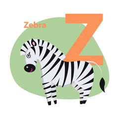 Zoo ABC Letter with Cute Zebra Cartoon Vector