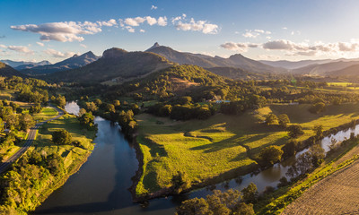 Drone view of Tweed River and Mount Warning, New South Wales, Australia