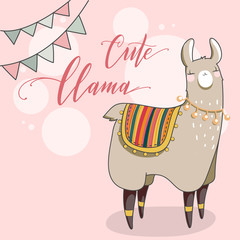 Cute Lama in cartoon style. Hand drawn vector illustration. Elements for greeting card, poster, banners. T-shirt, notebook and sticker design