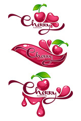 Cherry Flavour, vector collection of shine and glossy juice stickers and cherry berry symbols for your text