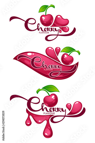 cherry flavour vector collection of shine and glossy juice stickers