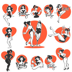 beauty and sexy, large collection of pinup girls and lettering compositions