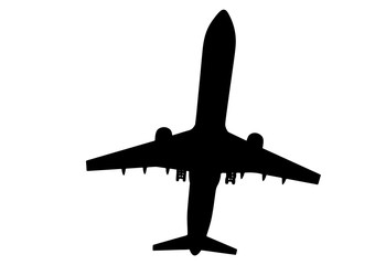 silhouette of passenger airplane vector.