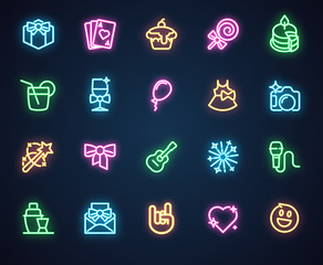 Neon icons for music, holiday, romantic, party theme. Set of 20 shining fluorescent labels isolated on black background. Advertising led logo. Vector illustration