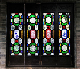 Chinese stained glass window in traditional style