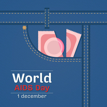 world aids day banner with condom on bag jean background vector design