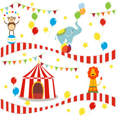 Seamless background, pattern, cartoon cute elephant, lion and monkey with circus tent. vector illustration.