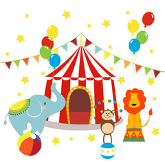 Carnival with striped tents, cheerful circus, elephant, lion and monkey. Vector illustration.