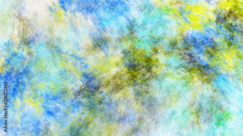 Abstract Painted Texture Chaotic Blue Green And Yellow