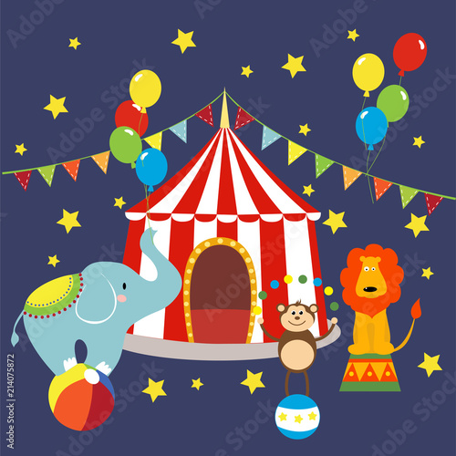 Carnival with striped tents cheerful circus elephant lion and monkey. Vector illustration.  sc 1 st  Fotolia.com & Carnival with striped tents cheerful circus elephant lion and ...