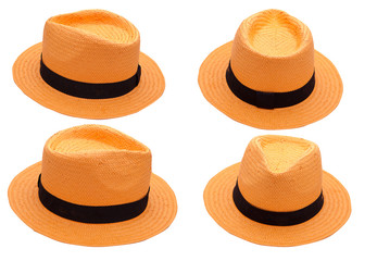 orange hat on white background isolated. summer fashion accessory
