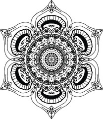 Beautiful lotus blossom mandala in black and white