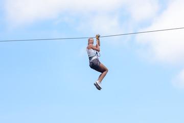 woman going on a zipline adventure