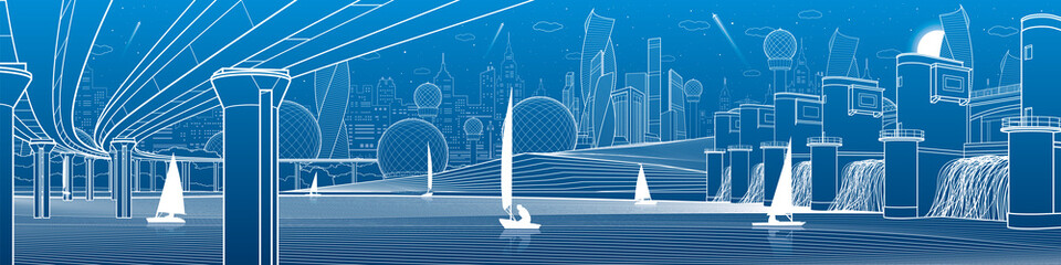 City infrastructure industrial and energy illustration panorama. Hydro power plant. River Dam. Large automobile bridge. White lines on blue background. Vector design art