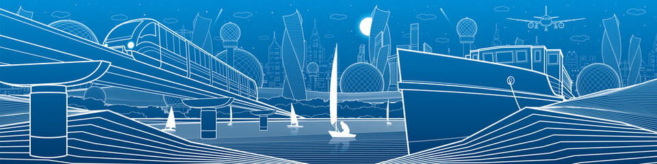 City infrastructure industrial and transport illustration panorama. Train travels along  railway bridge over river. Ship is moored on shore. Yachts on water. White lines on blue background. Vector art