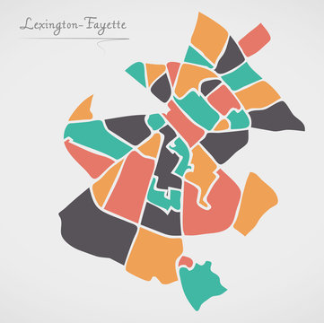 Lexington-Fayette Kentucky Map with neighborhoods and modern round shapes